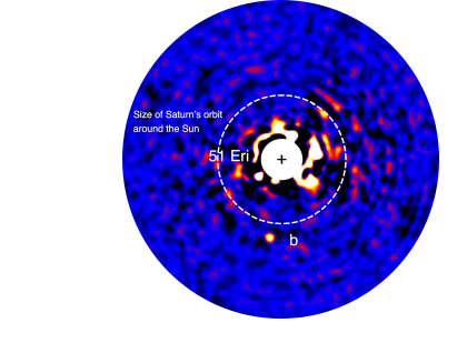 """The Gemini Planet Imager (GPI) collaboration <a href=""""http://www.dunlap.utoronto.ca/first-discovery-for-a-new-planet-finder/"""">announces its first discovery</a>: 51 Eri b, an exoplanet orbiting a star 96 light-years from Earth. Astronomers at the Dunlap, including then Dunlap Director, Prof. James Graham, played a key role in developing GPI, a ground-breaking instrument designed to directly image planets orbiting stars other than the Sun.  <br /> <br /><span style=""""font-size:75%;""""><em>Credit:  J.  Rameau  (UdeM)  and  C.  Marois  (NRC  Herzberg)</em></span>"""