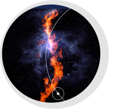 """The Greenbank Ammonia Survey, co-led by Dunlap Fellow Dr. Rachel Friesen, releases an image of a 50-light-year long filament of ammonia molecules in the Orion Nebula. The survey will map major, nearby starforming regions. <br /> <br /><span style=""""font-size:75%;""""><em>Credit: R. Friesen, Dunlap Institute; J. Pineda, MPE; GBO/AUI/NSF</em></span>"""