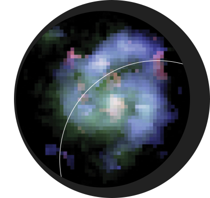 """In a paper published in the journal Nature, Dunlap Fellow Dr. David Law and colleagues announce the <a href=""""http://www.dunlap.utoronto.ca/a-grand-design-spiral-galaxy-before-its-time/"""">discovery of a galaxy 10.5 billion light-years from Earth</a>, one of the most distant to exhibit """"grand design"""" spiral arms. <br /> <br /><span style=""""font-size:75%;""""><em>Credit:  Dr.  David  Law;  Dunlap  Institute</em></span>"""