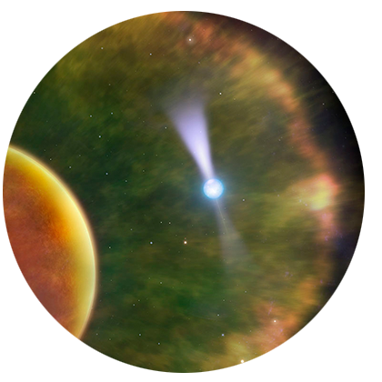 "U of T graduate student Robert Main and colleagues make an <a href=""http://www.dunlap.utoronto.ca/astronomers-observe-unprecedented-detail-in-pulsar-6500-light-years-from-earth/"">unprecedented high-resolution observation of a pulsar</a> 6500 light-years away.<br />  <br /><span style=""font-size:75%;""><em>Credit:  Dr. Mark Garlic; Dunlap Institute</em></span>"