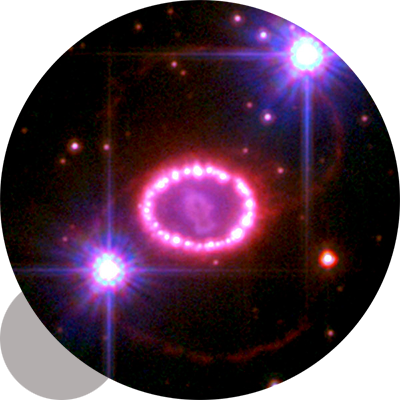 """Prof. Bryan Gaensler and colleagues are the first to directly observe the <a href=""""http://www.dunlap.utoronto.ca/astronomers-observe-unprecedented-detail-in-pulsar-6500-light-years-from-earth/"""">magnetic field of the remnant of Supernova 1987a. </a><br /> <br /><span style=""""font-size:75%;""""><em>Credit: Image: NASA, ESA, R. Kirshner and P. Challis (Harvard-Smithsonian Center for Astrophysics)</em></span>"""